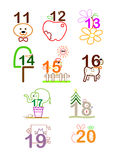 Number 11 - 20. A series of line arts for a concept picture for number 11 - 20. can use for education, birthday, years old, anniversary stock illustration