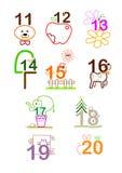 Number 11 - 20 stock illustration