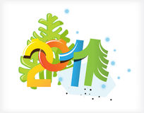 Number. Christmas figures two thousand eleven years on the background of trees.2011 stock illustration