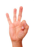 Number. Hand raising three fingers as an indication of number Royalty Free Stock Photography