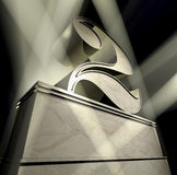 Number 2. Number two in silver letters on a silver pedestal in sunbeams Royalty Free Stock Photos