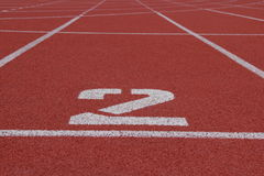 Number 2 running track. Number two running track in stadium Royalty Free Stock Photos