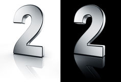 The number 2 on white and black floor Stock Images