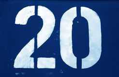 Free Number 20 In Stencil On Metal Wall In Navy Blue Tone Royalty Free Stock Photos - 141635418