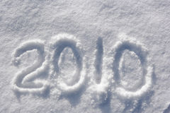 Number 2010 written in glittering snow Royalty Free Stock Image