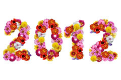 Number 2012. Of flowers isolated on a white background Stock Photos