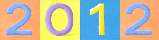 Number 2012. Acrylic illustration of number 2012 Royalty Free Stock Images