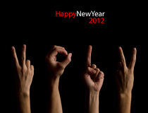 The number 2012 shown by fingers Stock Images