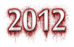 Number 2012 in splatter of blood. On white background Stock Photos