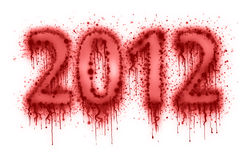 Number 2012 by splatter of blood. On white background Royalty Free Stock Photography