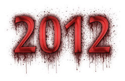 Number 2012 in splatter of blood. On white background Royalty Free Stock Images