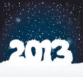 Number 2013 like snowman. Happy New Year card on night sky background Royalty Free Stock Photo