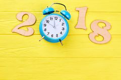 Free Number 2018 From Wood And Alarm Clock. Royalty Free Stock Image - 104877806
