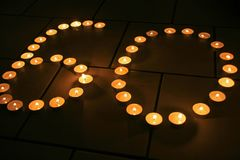 Number. 60 made with candles Royalty Free Stock Image