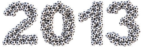 Number. New 2013 year from the soccer balls. isolated on white Royalty Free Stock Images