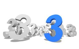Number 3 in 3D. Group of number 3 on white background royalty free illustration