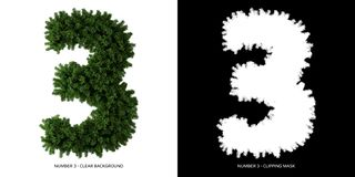 Free Number 3 Leaves. Alphabet Plants. Stock Images - 164155004