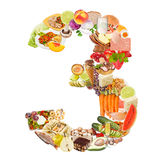 Number 3 made of food. Isolated on white background Royalty Free Stock Photo