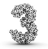 Number 3 from soccer football balls Royalty Free Stock Image