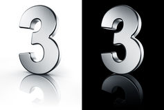 The number 3 on white and black floor Stock Photo