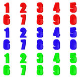 Number 3d. Set render number. Red, green, blue color. Isolated on white Royalty Free Stock Photography