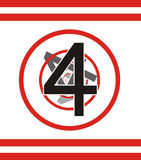 Number 4. Number four fading away beneath the circles Stock Photo
