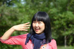 Number 4. Young Asian women posing number 4 in summer Stock Photography