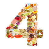 Number 4 made of food. Isolated on white background Royalty Free Stock Photography