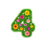 Number 4 Made Of Grass And Colorful Flowers Royalty Free Stock Images