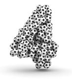 Number 4 from soccer football balls Royalty Free Stock Photos