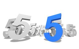 Number 5. Group of number 5 on white background royalty free illustration