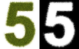 Number 5 of the grass with alpha channel Royalty Free Stock Photo