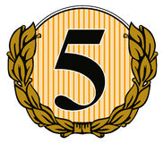Number 5 with laurel leave Royalty Free Stock Photos