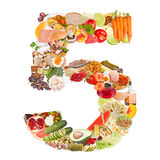 Number 5 made of food. Isolated on white background Stock Images