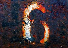 The number 6. On a highly textured weathered metallic surface Royalty Free Stock Photography