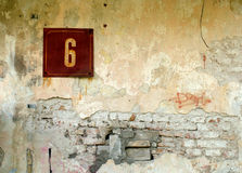 Number 6. Wall detail royalty free stock photos