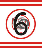 Number 6. Number six fading away beneath the circles Royalty Free Stock Images