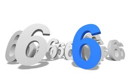 Number 6. Group of number 6 on white background royalty free illustration