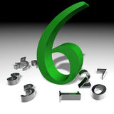 Number 6. 3d image of number six Stock Images