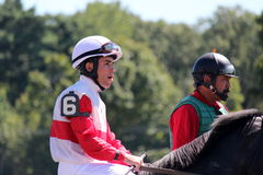 Number 6 jockey going to the gate,summer 2012 at Saratoga Springs, New York racetrack Stock Photos