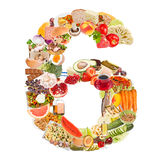 Number 6 made of food. Isolated on white background Stock Photo