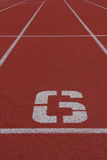 Number 6 running track. Number six running track in stadium Royalty Free Stock Images