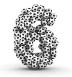 Number 6 from soccer football balls Royalty Free Stock Photo