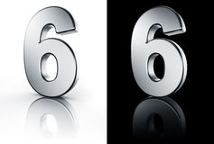 The number 6 on white and black floor Stock Image