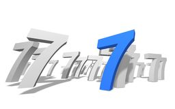 Number 7. Group of number 7 on white background royalty free illustration
