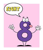 Number 8 eight guy with speech bubble Royalty Free Stock Photography