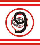 Number 9 falling in vortex. Illustration of number nine fading into circular red vortex Stock Images
