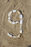 Number 9 in stones Stock Photography