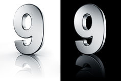 The number 9 on white and black floor Royalty Free Stock Image