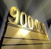 Number 900.000. Number nine hundred thousand in golden letters on a golden pedestal royalty free illustration